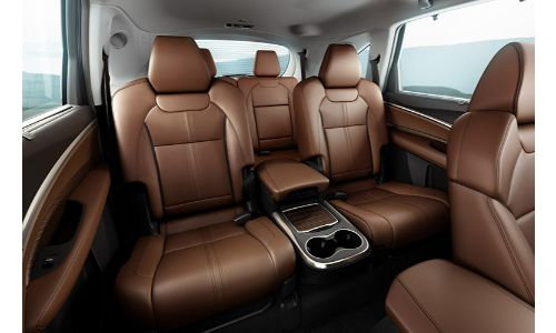 2019 Acura MDX three rows of brown leather seats