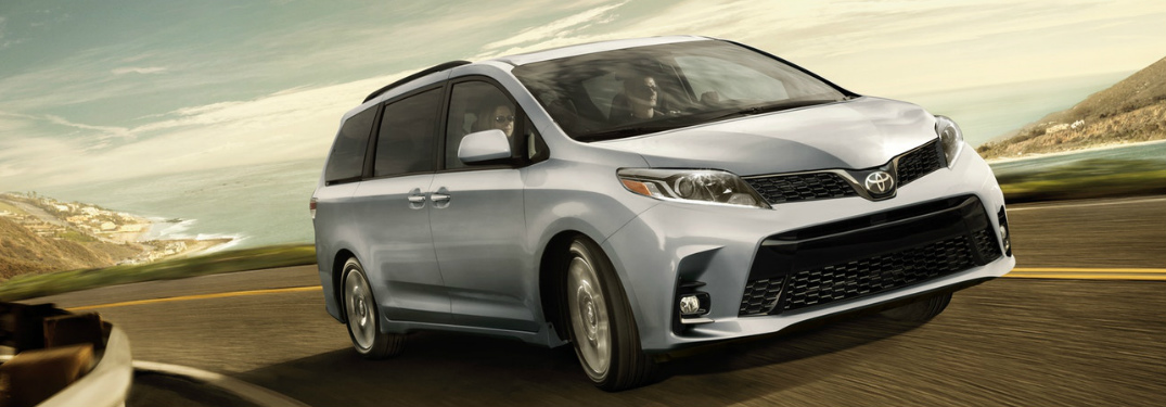 Silver 2018 Toyota Sienna Driving by the Ocean