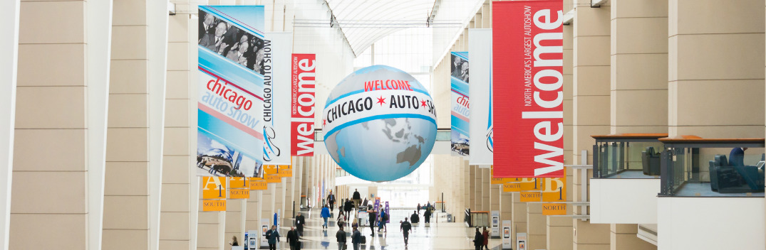 Banners Hanging from the Ceiling at Chicago Auto Show