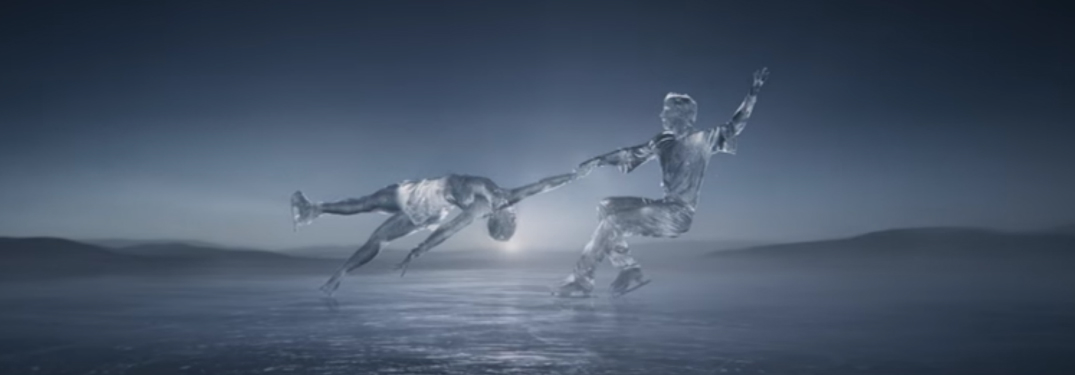 Ice Sculptures of Figure Skaters in Toyota Frozen Commercial