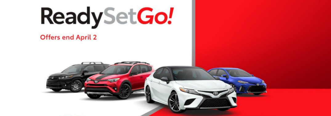 Ready, Set, Go! Title and Four Toyota Vehicles