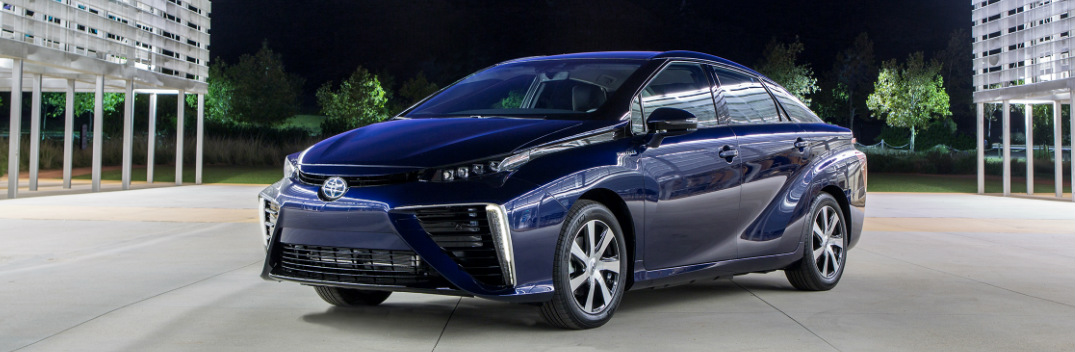 Side View of a Blue Toyota Mirai