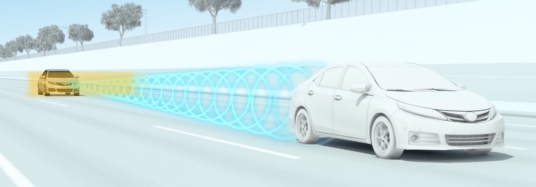 Graphic of a Toyota Vehicle Using Dynamic Radar Cruise Control