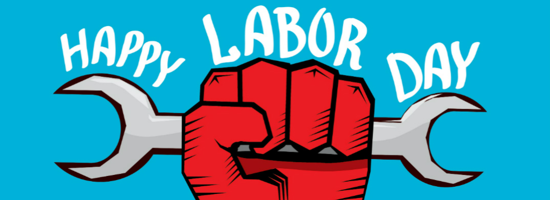 Happy Labor Day Title and a Red Hand Holding a Wrench