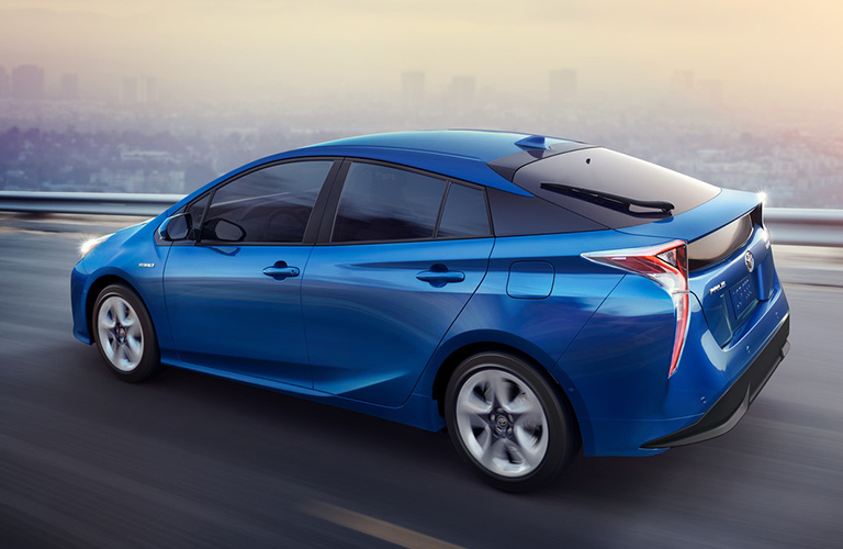 Rear View Of Blue 2018 Toyota Prius