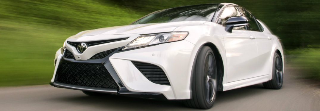 Front View of White 2019 Toyota Camry