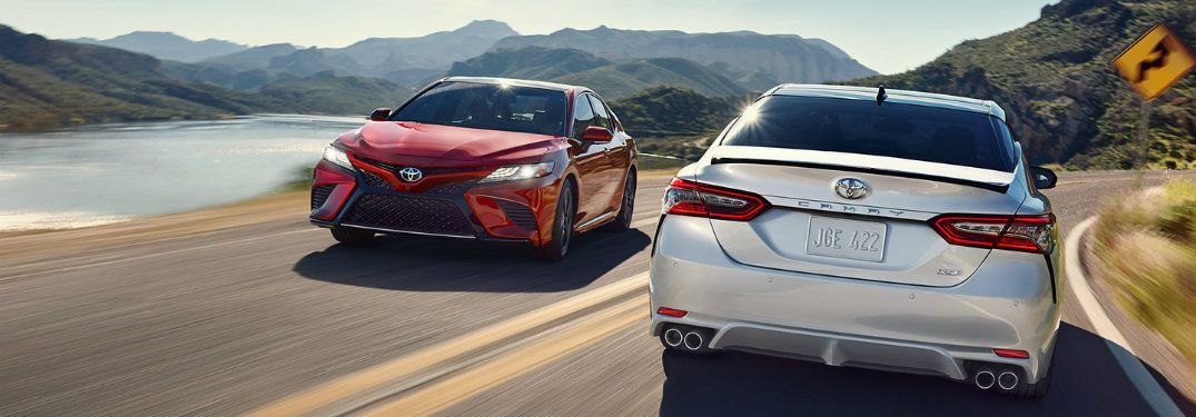 Two-2018-Toyota-Camry-models-driving-on-opposite-sides-of-the-road