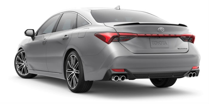 A rear left quarter photo of the 2019 Toyota Avalon in Celestial Silver Metallic.