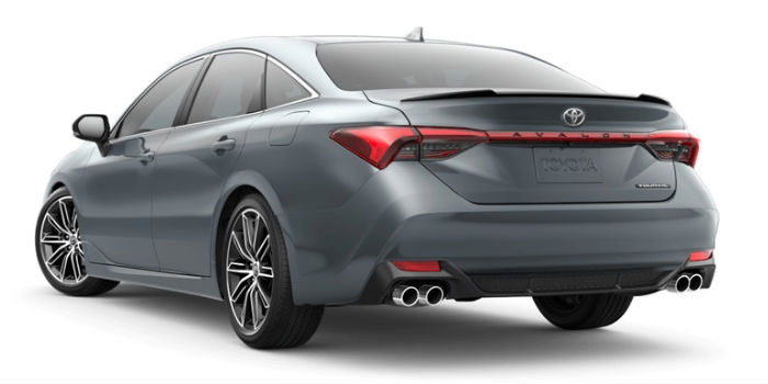 A rear left quarter photo of the 2019 Avalon in Harbor Gray Metallic