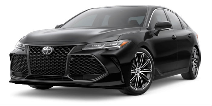 A front left quarter photo of the 2019 Avalon in Midnight Black Metallic.