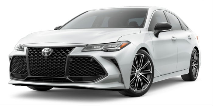 The 2019 Avalon showing it front left corner in Wind Chill Pearl