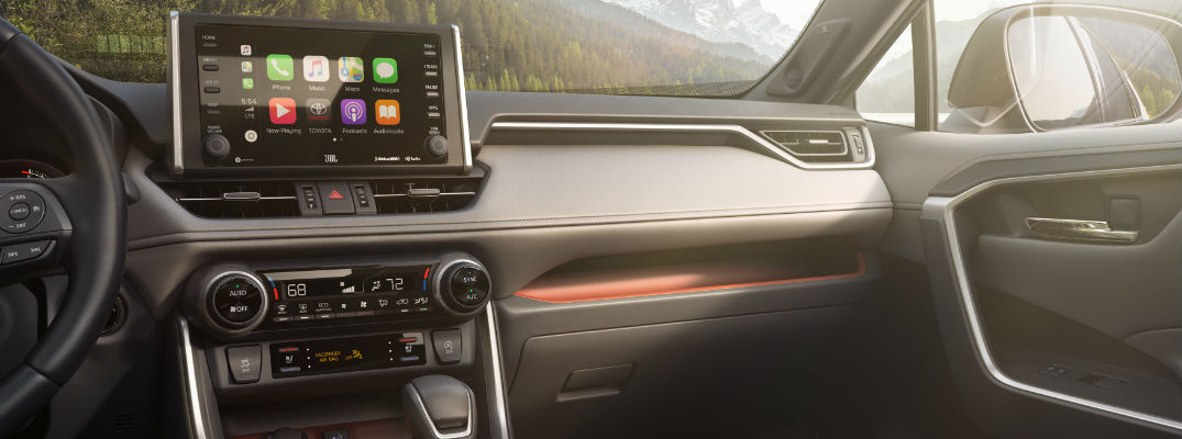 A photo of the front dashboard found in the 2019 Toyota RAV4.