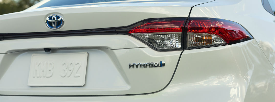 A close up photo of the hybrid badge on the 2020 Toyota Corolla Hybrid.