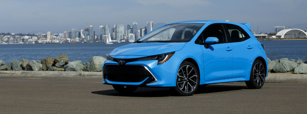 A front-left quarter photo of the 2019 Toyota Corolla Hatchback.