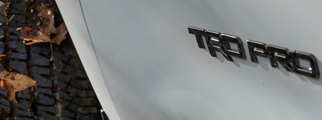 A close up photo of the new TRD Pro Series vehicle being announced at the Chicago Auto Show.