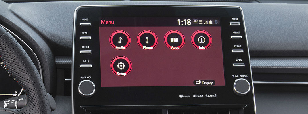 A photo of the touchscreen interface that can control SiriusXM satellite radio available on many models.