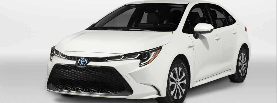 A photo of the 2020 Toyota Corolla Hybrid in a photo studio.