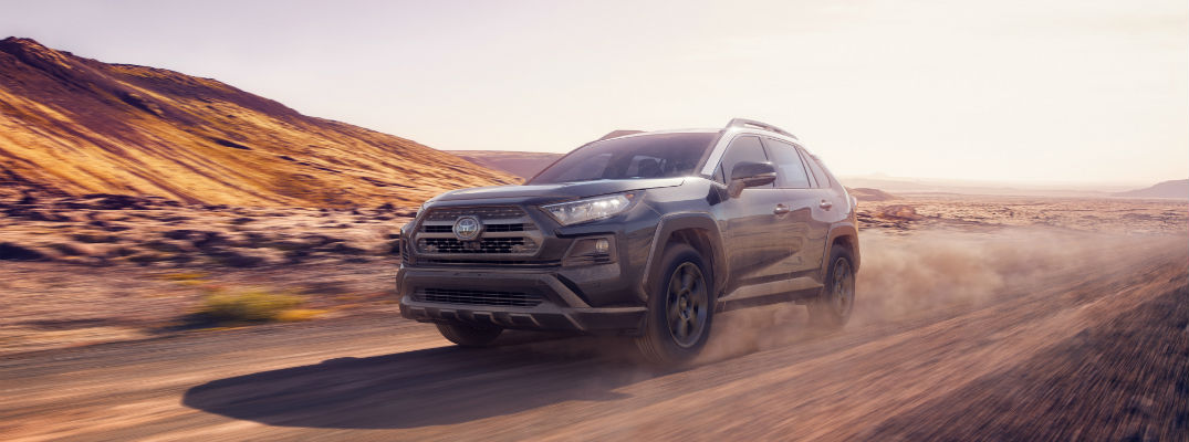A photo of the 2020 Toyota RAV4 TRD Off-Road on a desert road.
