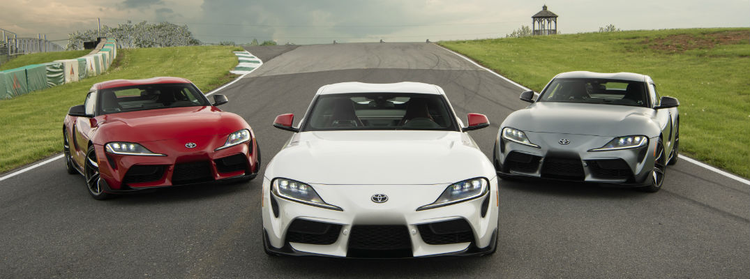 A photo of the three Launch Edition versions of the 2020 Toyota Supra.