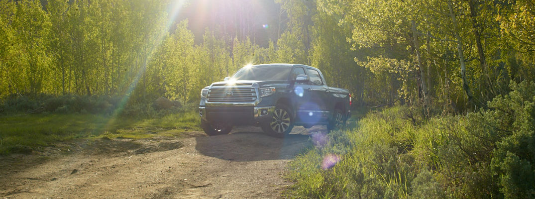 A photo of the 2020 Toyota Tundra driving on a trail in the woods.