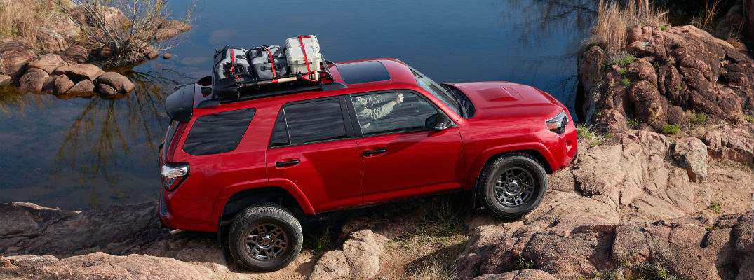An overhead photo of the 2020 Toyota 4Runner on a rocky trail.