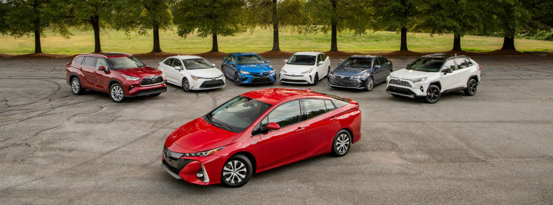 A photo of all of the Toyota hybrid vehicles it produces.