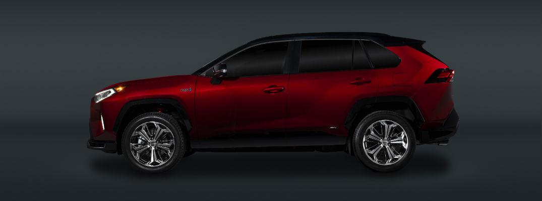 A left profile photo of the 2021 Toyota RAV4 Prime.