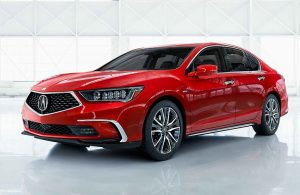 red 2019 acura rlx on white background