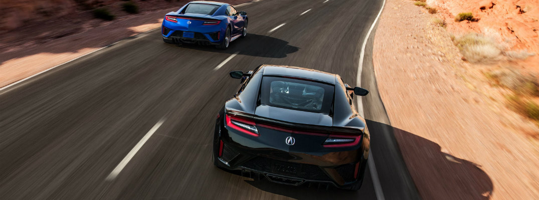 blue and black 2019 acura nsx racing