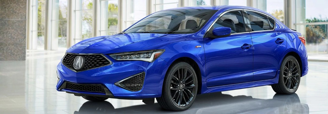 Front driver angle of a 2019 Acura ILX in Apex Blue Pearl with Technology and A-Spec packages