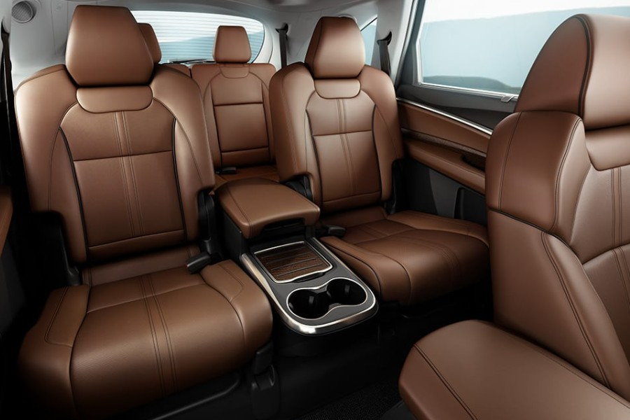 View of the Milano leather Captain's Chairs in the 2020 Acura MDX from the front passenger seat
