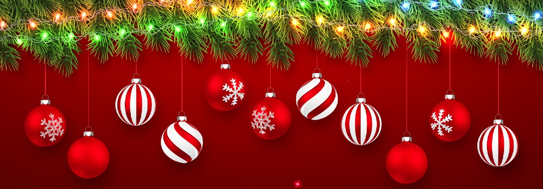 Christmas graphic with ornaments hanging from a lit Christmas tree on a red background