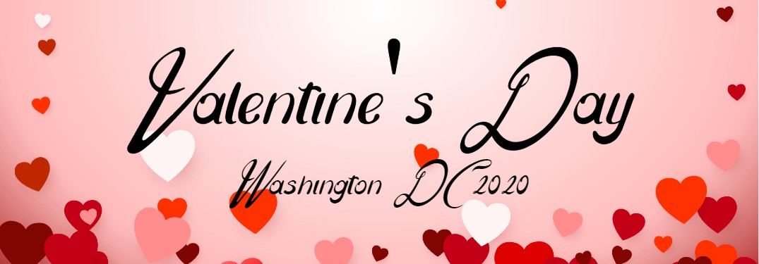 Pink banner with hearts in the background and the text Valentine's Day Washington DC 2020