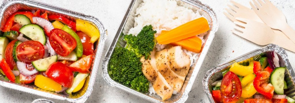 Food in delivery containers