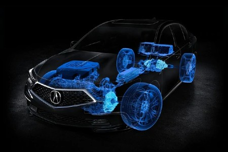 Graphic showing the Sport Hybrid Super Handling All-Wheel Drive system in the 2020 Acura RLX
