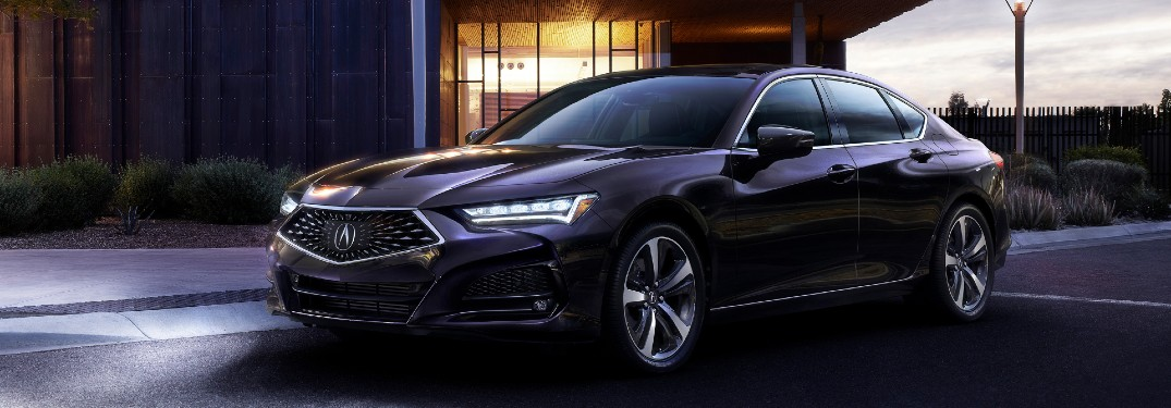 Front driver angle of a black 2021 Acura TLX