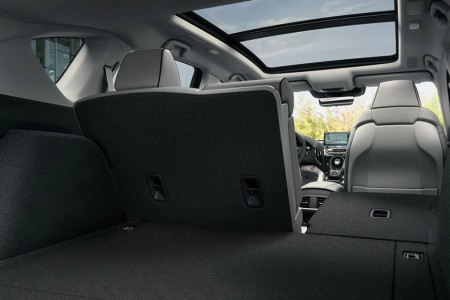 Cargo area inside the 2021 Acura RDX with one seat folded