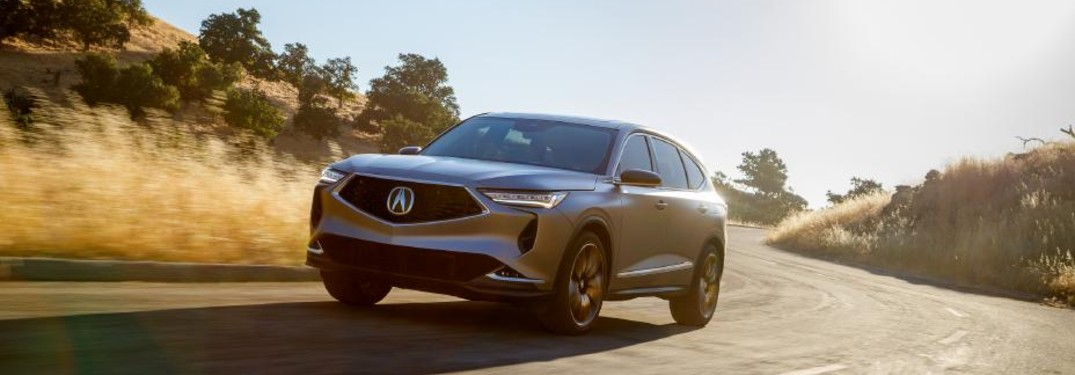 Front driver angle of a grey Acura MDX Prototype