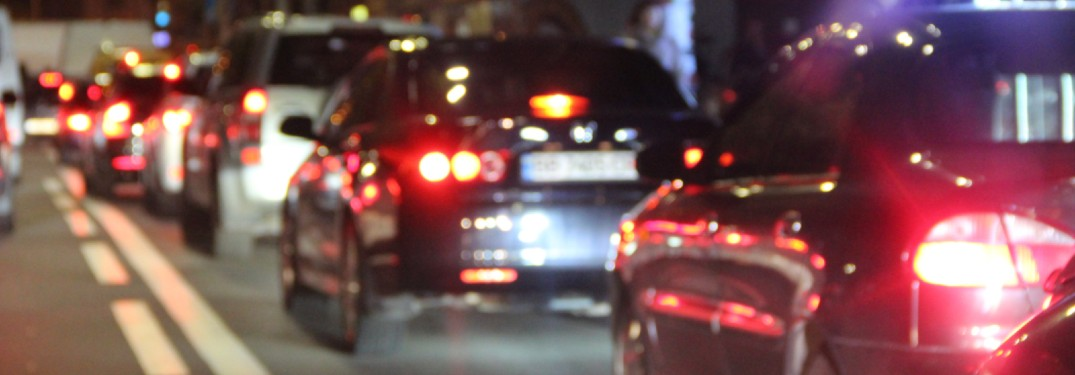 Taillights of cars in heavy traffic