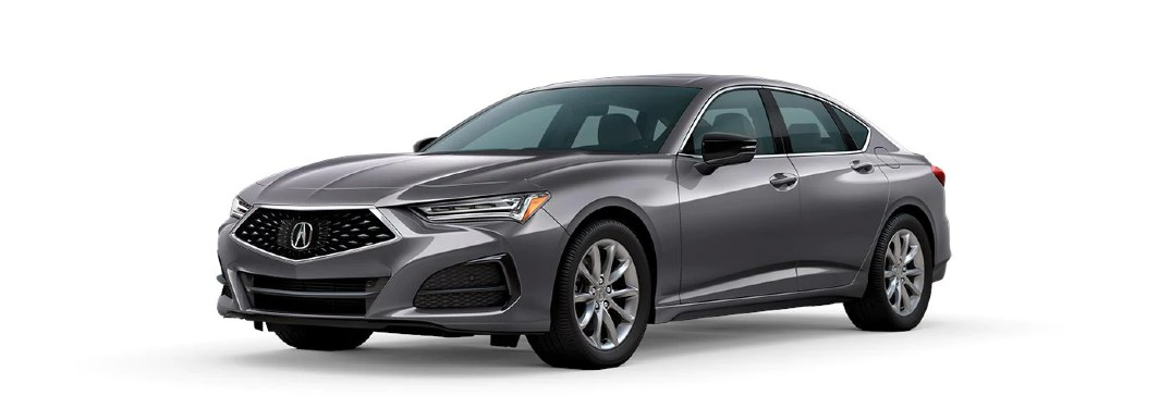 Front driver angle of a grey 2021 Acura TLX base model