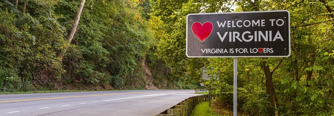 The welcome to Virginia road sign.