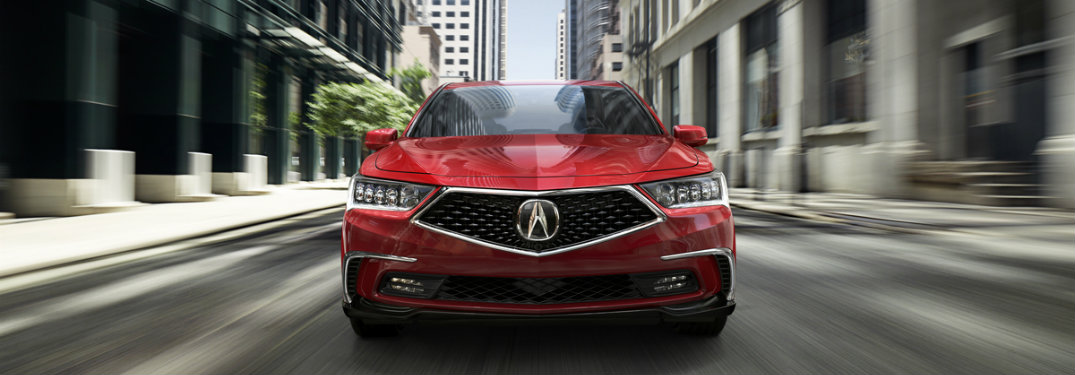 Front end of Red 2018 Acura RLX