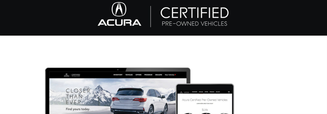 Acura Certified Pre-Owned Website shown on computer and tablet