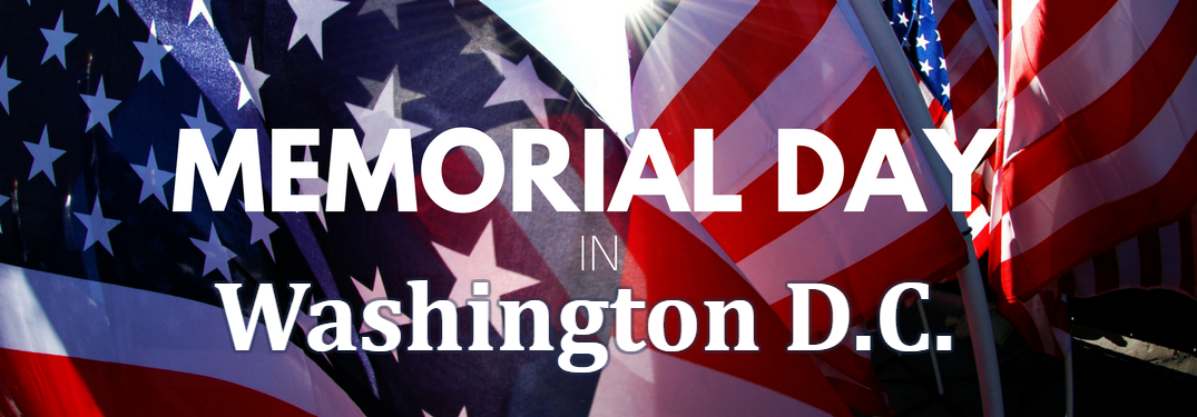American Flag with Memorial Day in Washington D.C. text