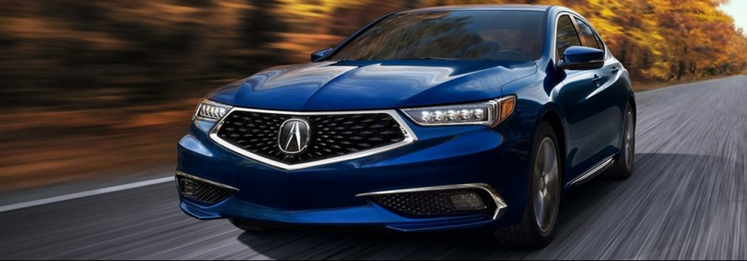 A blue 2019 Acura TLX cruises down a country road with the leaves of the trees having a yellow color.
