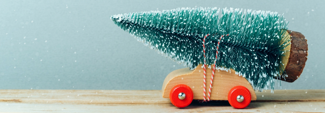 wooden toy car with a pine tree figurine tied on top