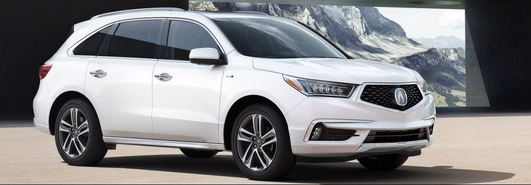2019 Acura MDX with a mountain in the background