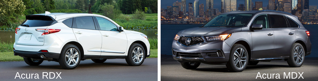 labeled image comparing the 2019 Acura RDX versus the 2019 Acura mdx