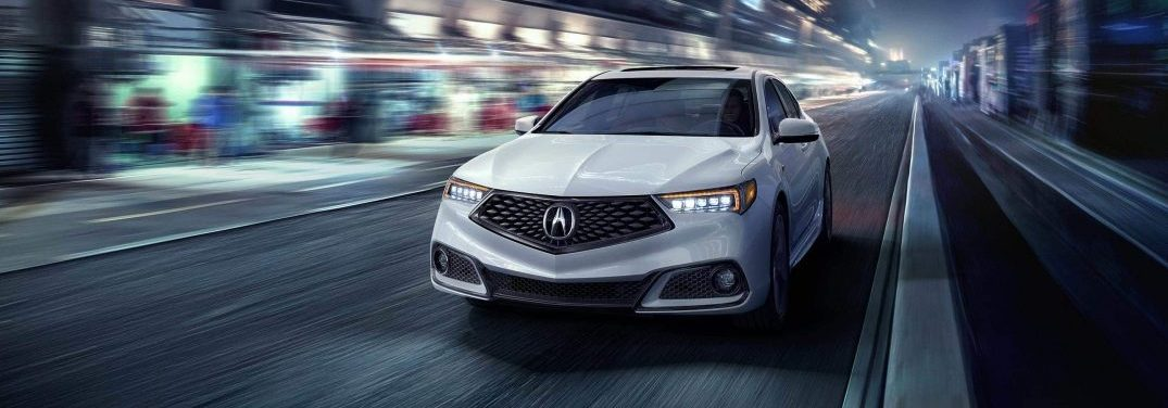 2020 acura tlx inwhite on city street