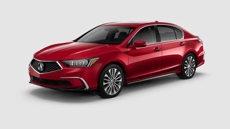 Front driver angle of the 2020 Acura RLX in Brilliant Red Metallic color